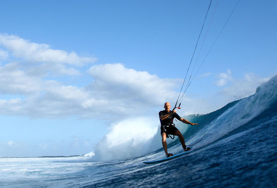 Udo Hölker, Herausgeber der Kite and Windsurfing Guides, Big Wave Kitesurfing, One Eye, Mauritius
